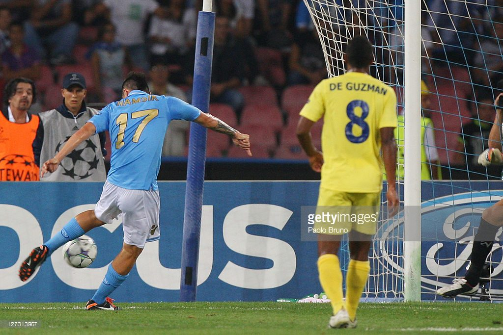 during the UEFA Champions League Group A match between SSC Napoli and Villarreal CF at Stadio San Paolo on September 27, 2011 in Naples, Italy.