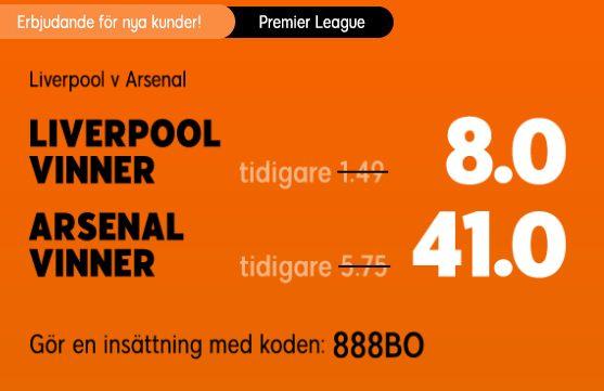 888Sport oddsboost Liverpool-Arsenal