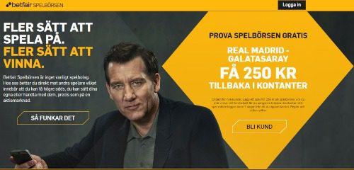 Betfair spelbörsen CL 250 kr Real Madrid - Galatasaray
